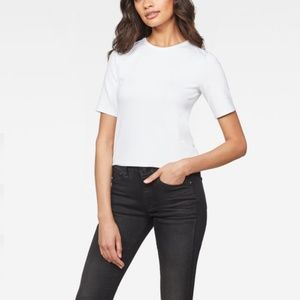 NWT G-STAR RAW SILBER CROPPED TEE - S